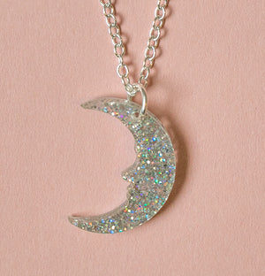 Small Holographic Glitter Moon Necklace - Sour Cherry