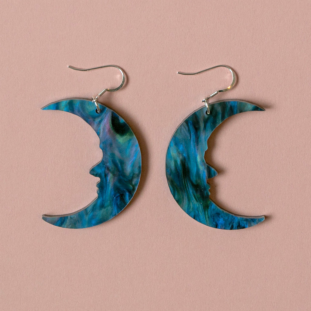 Large Galaxy Marble Moon Earrings - Sour Cherry