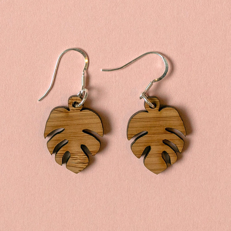 Small Bamboo Monstera Earrings - Sour Cherry