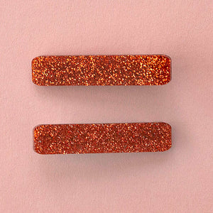 Load image into Gallery viewer, Orange Glitter Hair Clips - Sour Cherry