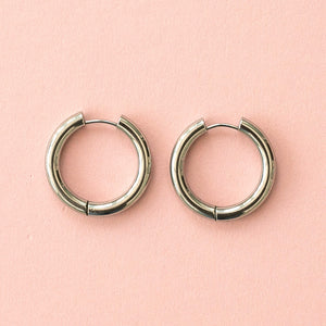28mm Stainless Steel Hoop Earrings - Sour Cherry