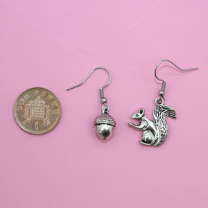 Squirrel & Acorn Earrings - Sour Cherry