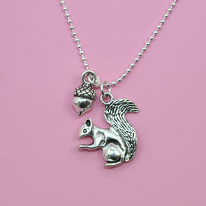 Squirrel & Acorn Necklace - Sour Cherry