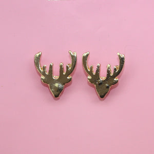 Stag Stud Earrings (Gold plated)