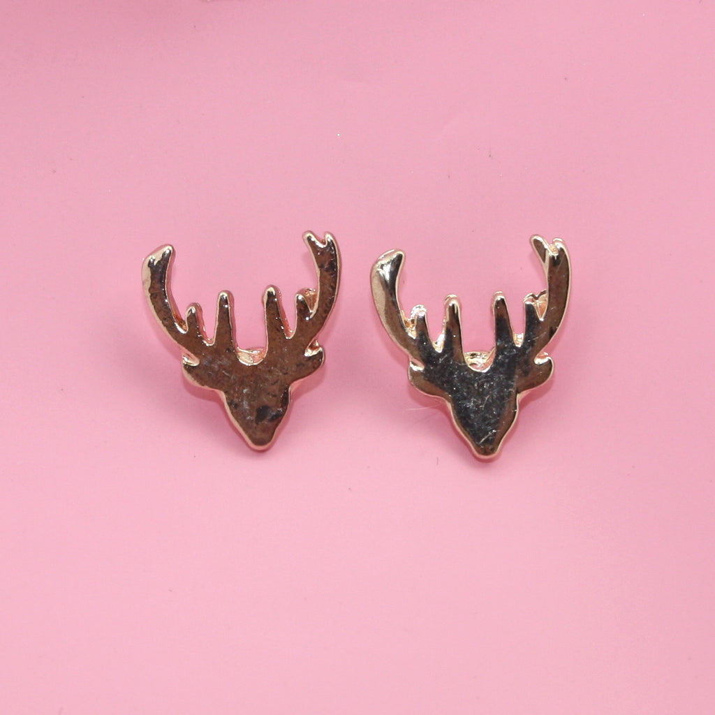Stag Stud Earrings (Rose Gold Plated) - Sour Cherry