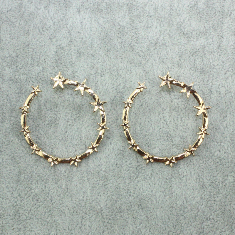 Star Hooped Studs (Gold Plated) - Sour Cherry