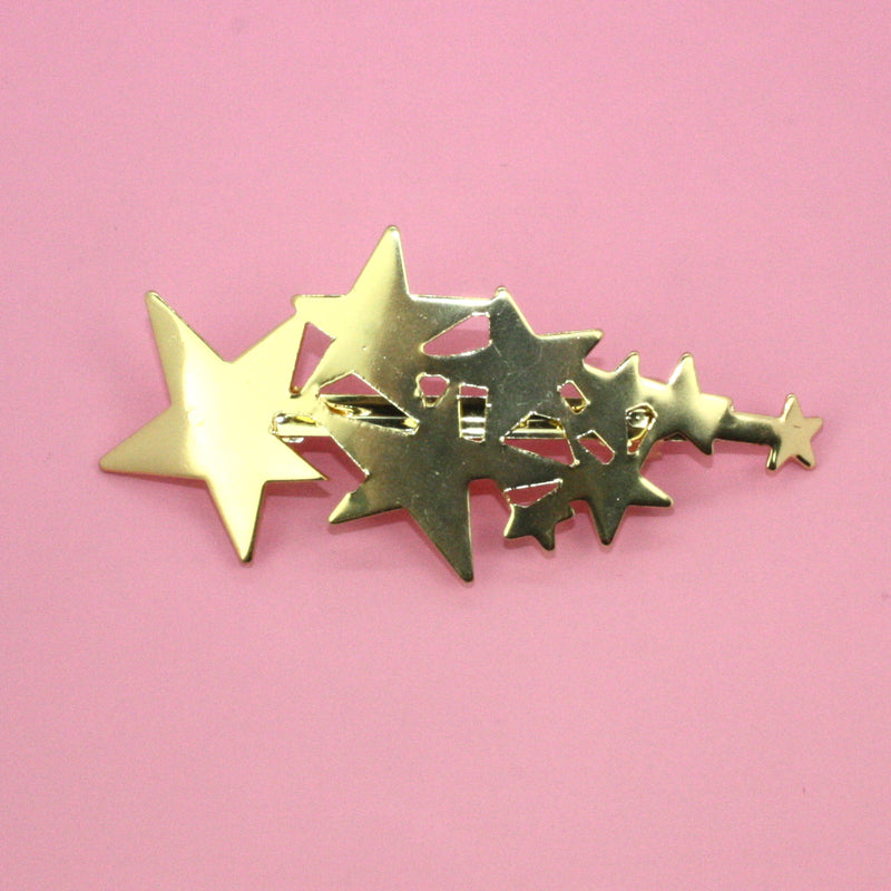 Star Cluster Hair Clip (Gold Tone) - Sour Cherry
