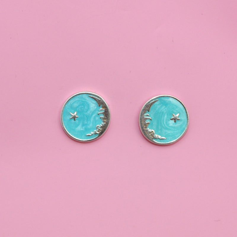 Mini Once In A Blue Moon Studs (Sterling Silver) - Sour Cherry
