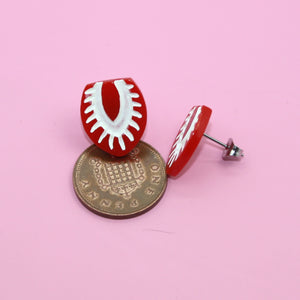 Sliced Strawberry Stud Earrings - Sour Cherry