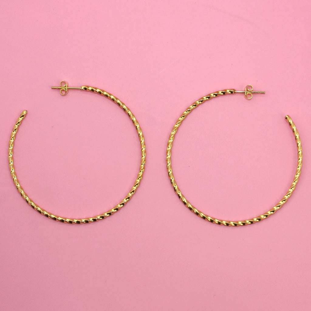 Striped Hoops (Gold Plated)
