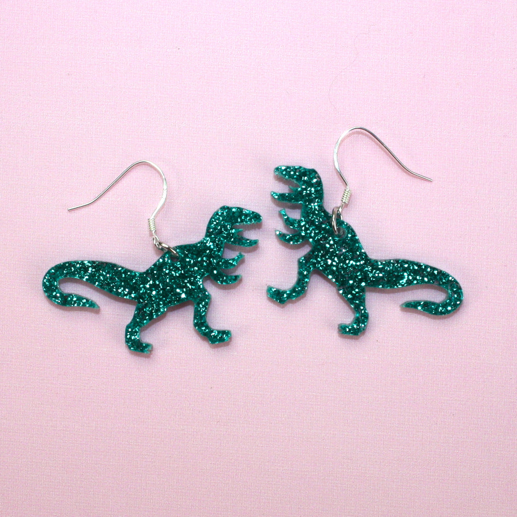 Small Green Glitter T-rex Earrings - Sour Cherry