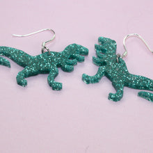 Load image into Gallery viewer, Small Green Glitter T-rex Earrings