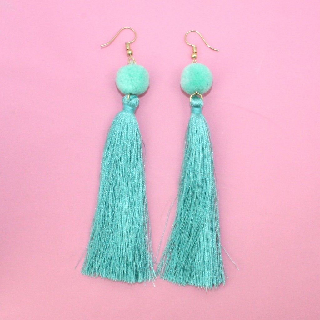 Turquoise Pom Pom & Tassel Earrings - Sour Cherry