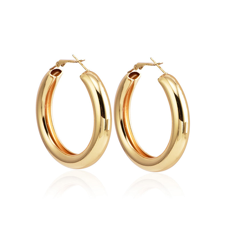 Chunky Gold Plated Hoop Earrings