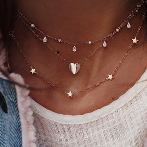 Layered Heart & Star Necklace - Sour Cherry