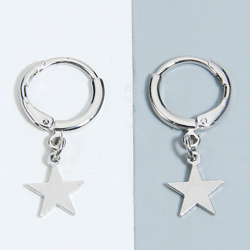 Star Hoop Earrings (Silver Plated) - Sour Cherry