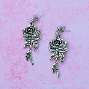 Large Rose Earrings - Sour Cherry