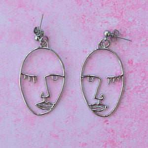 Face Earrings (Silver Plated) - Sour Cherry