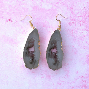 Light Grey Druzy Earrings