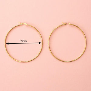 The Bigger The Hoop Earrings (75mm Gold Plated)