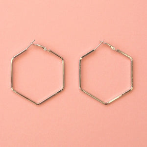 50mm Hexagon Hoop Earrings (Silver Plated) - Sour Cherry