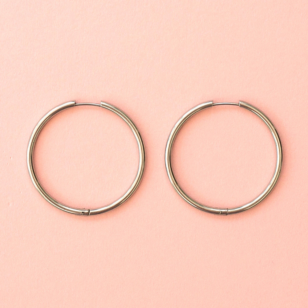 Load image into Gallery viewer, 40mm Stainless Steel Hoop Earrings - Sour Cherry