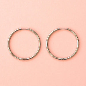 40mm Stainless Steel Hoop Earrings - Sour Cherry