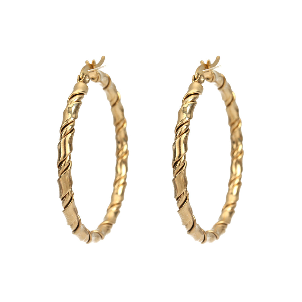 47mm Chunky Twisted Hoops (Gold Plated) - Sour Cherry
