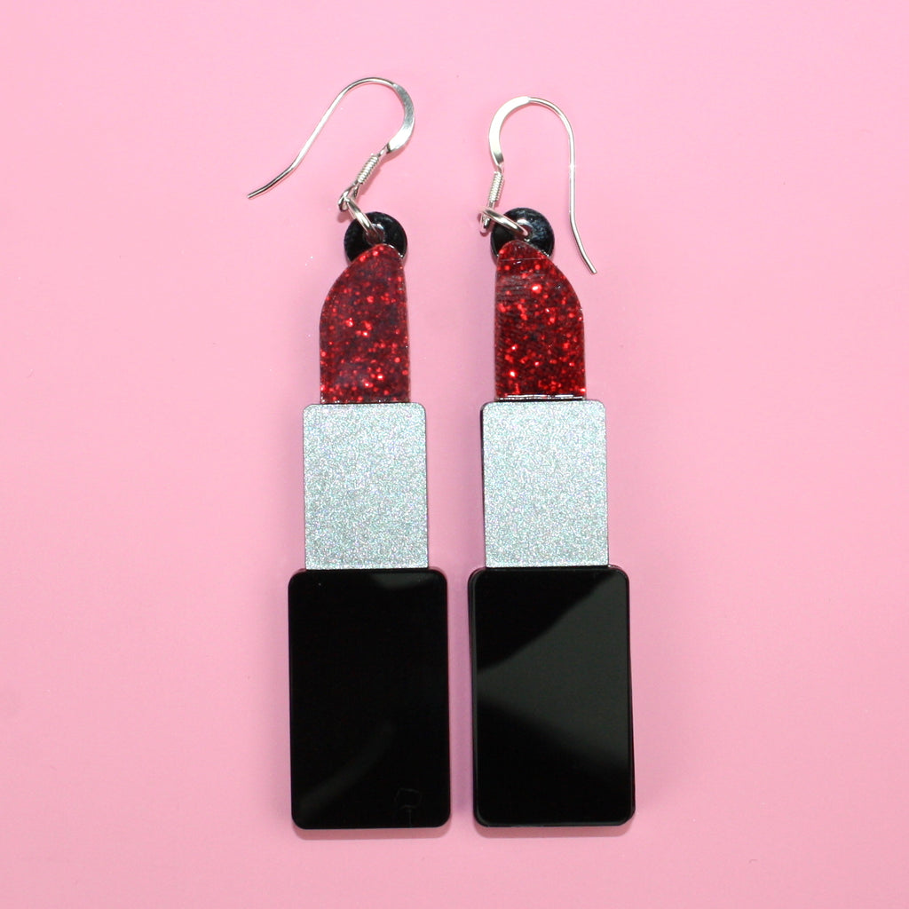 Red Glitter Lipstick Earrings