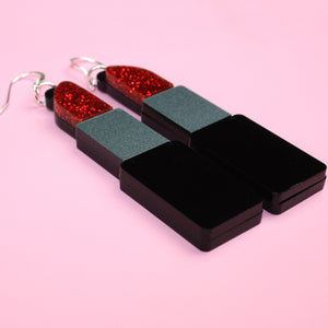Red Glitter Lipstick Earrings - Sour Cherry