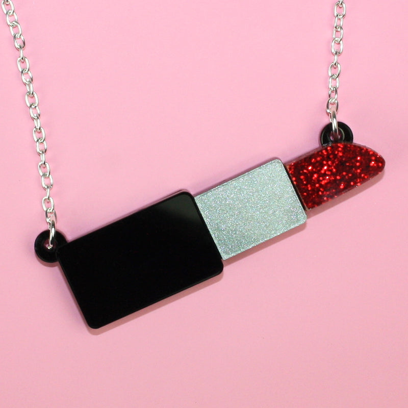 Red Glitter Lipstick Necklace - Sour Cherry