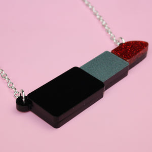 Red Glitter Lipstick Necklace