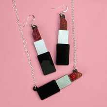 Load image into Gallery viewer, Red Glitter Lipstick Necklace