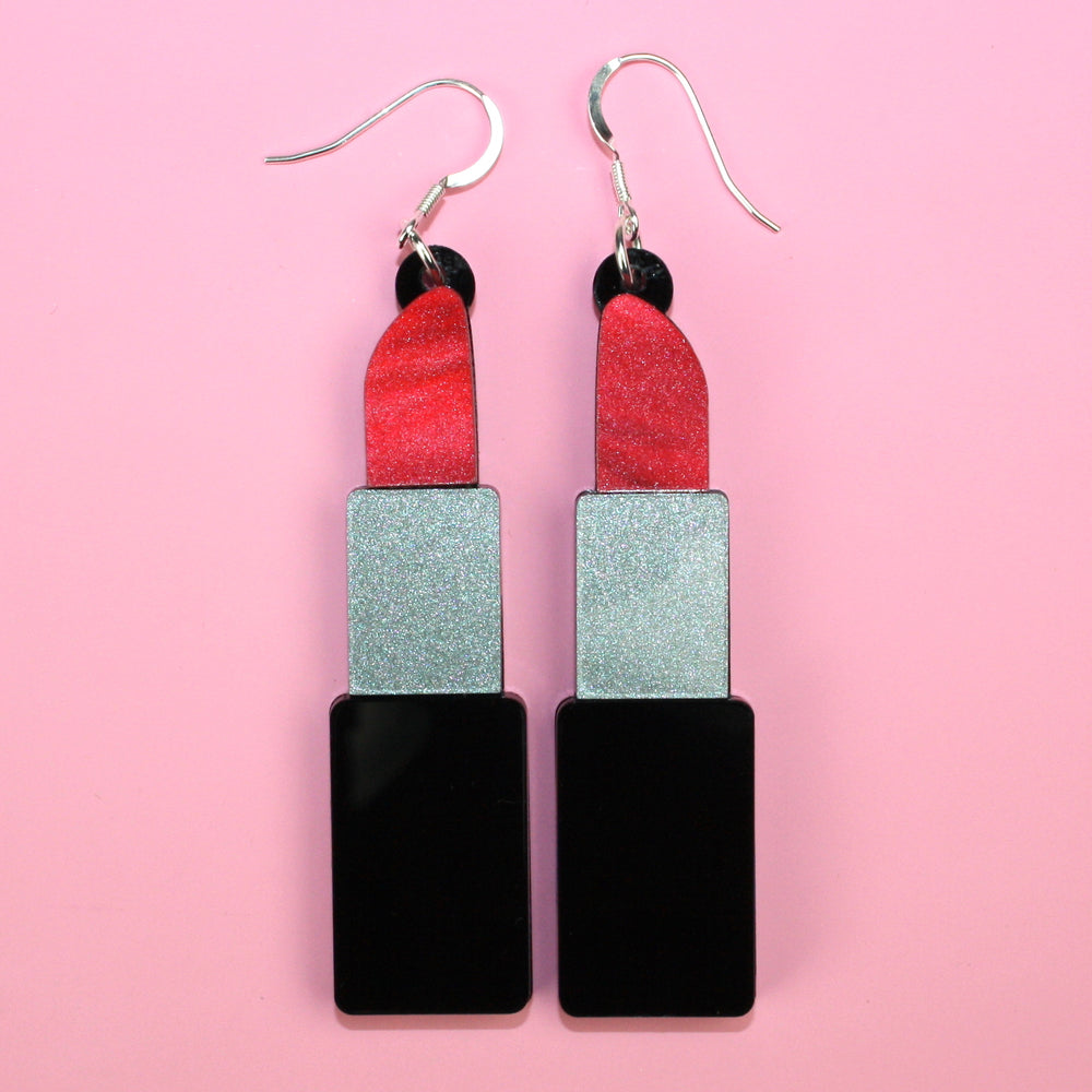 Red Marble Lipstick Earrings - Sour Cherry