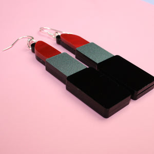 Red Marble Lipstick Earrings