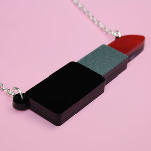 Load image into Gallery viewer, Red Marble Lipstick Necklace - Sour Cherry