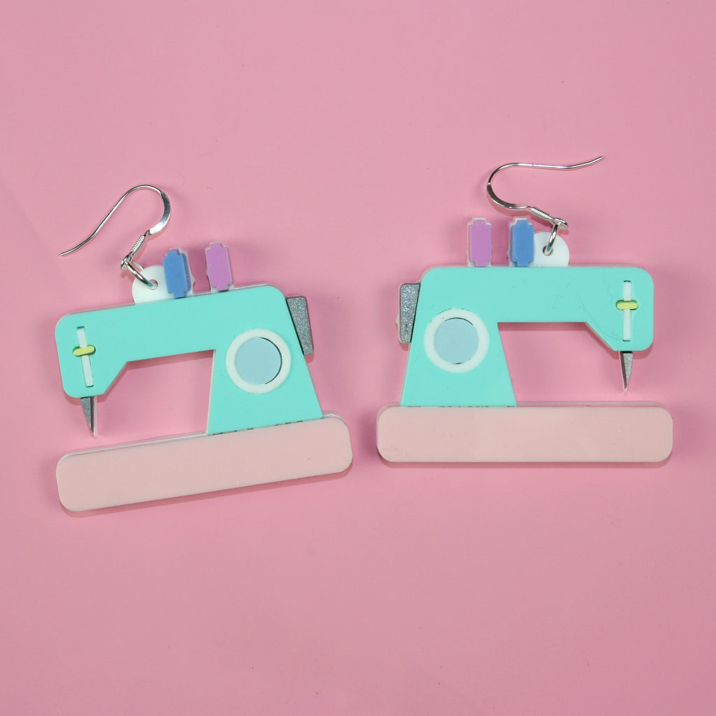 Retro Sewing Machine Earrings - Sour Cherry