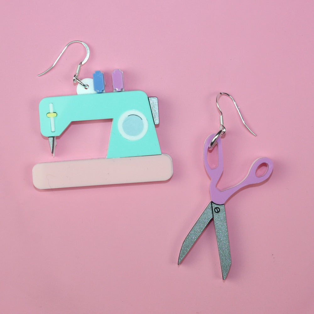 Retro Sewing Machine & Scissor Earrings - Sour Cherry