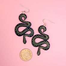 Load image into Gallery viewer, Small Black & Gold Snake Earrings