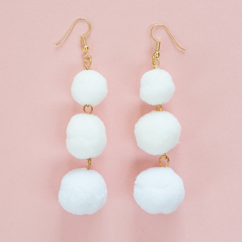 White Triple Pom Pom Drop Earrings - Sour Cherry
