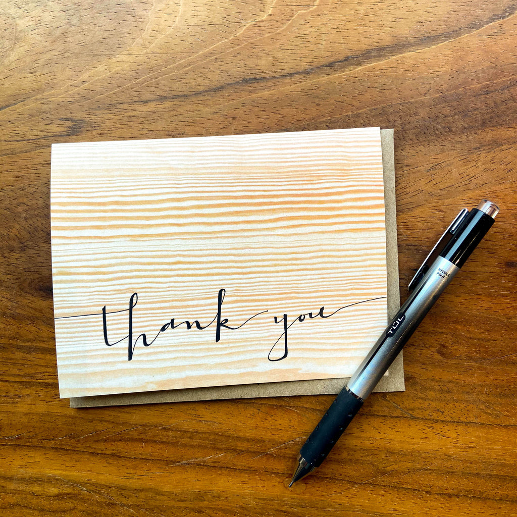 Woodgrain Thank You Card