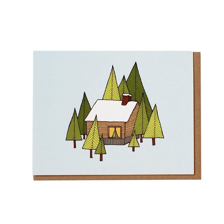 Holiday Cabin Greeting Card