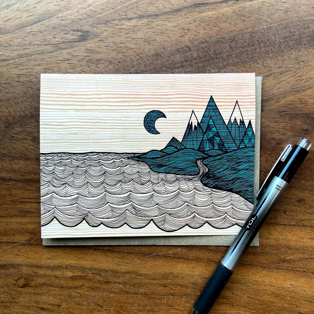 Mtns Meet the Sea Greeting Card