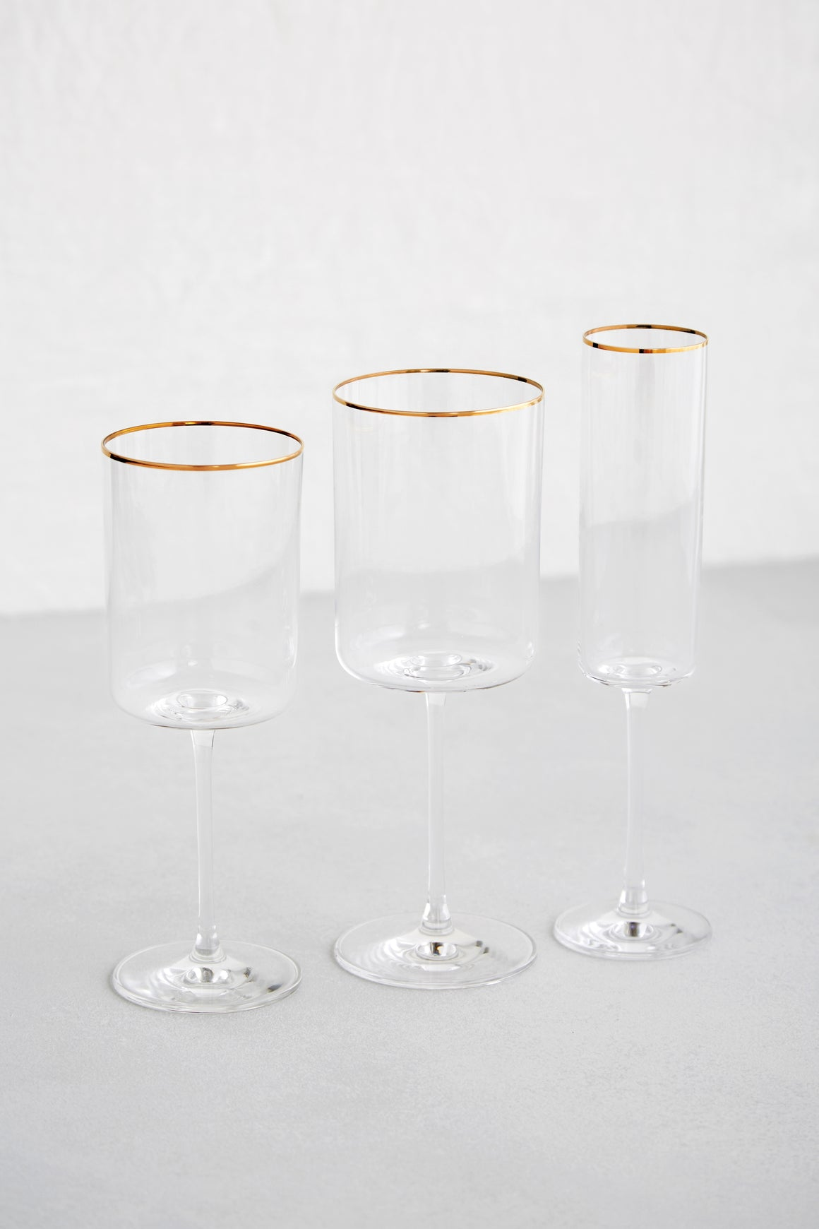 Edge Glassware, Gold Rimmed Clear