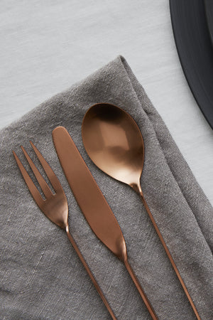 Brushed Matte Copper Tableware Rentals