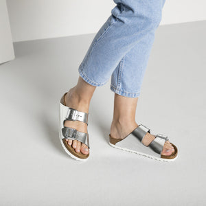 Arizona Metallic Silver SFB, womens sandals, Birkenstock, Milu James St