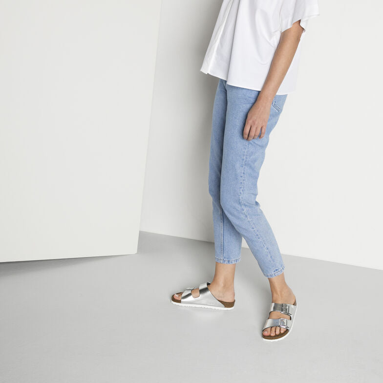 Arizona Metallic Silver SFB, Sandals, Birkenstock, Milu James St