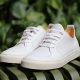 Argan Low in White Leather, Sneakers, Ekn, Milu James St