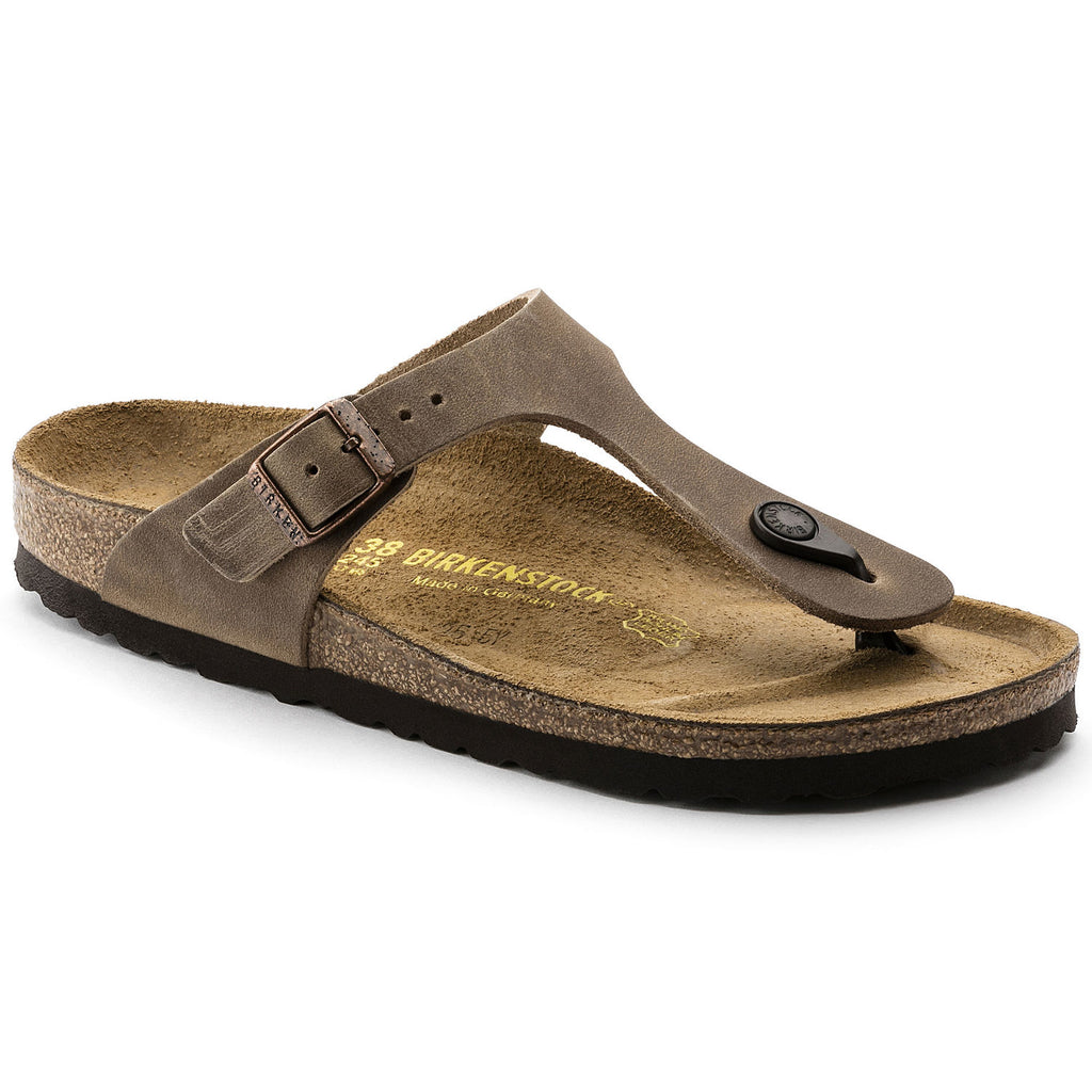 Gizeh Natural Oiled Leather in Tabacco Brown (Classic Footbed), Sandals, Birkenstock, Milu James St