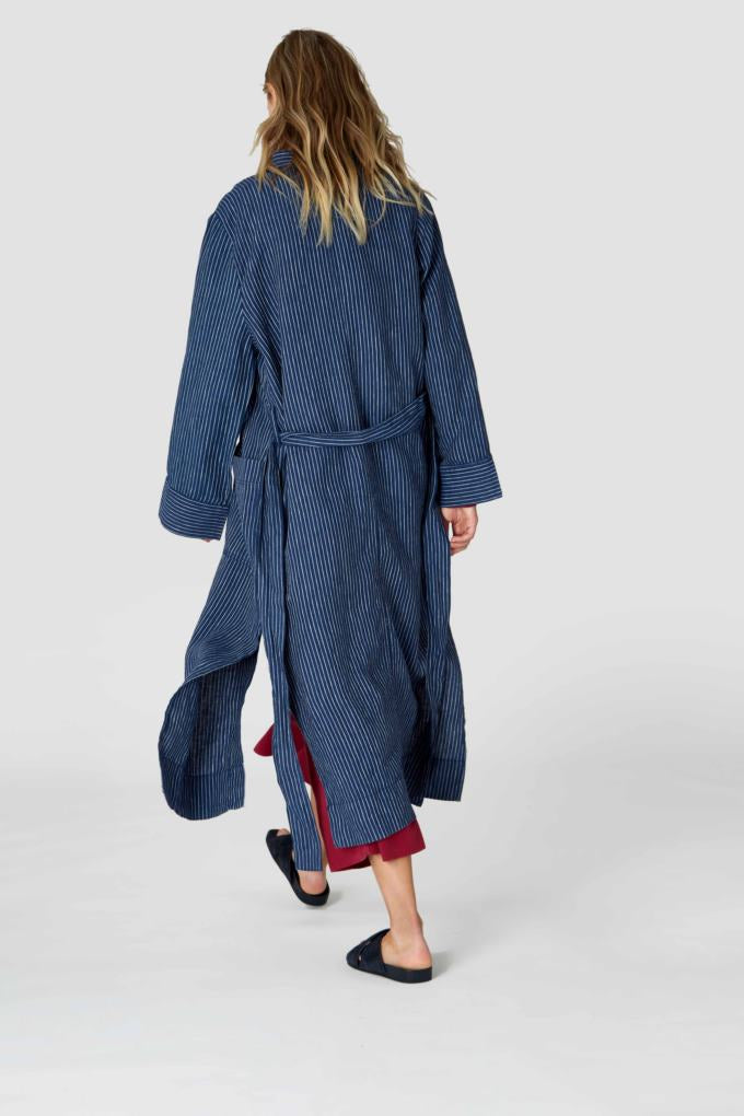 Arnalda Stripe Linen Indigo, Womenswear, Kings Of Indigo, Milu James St